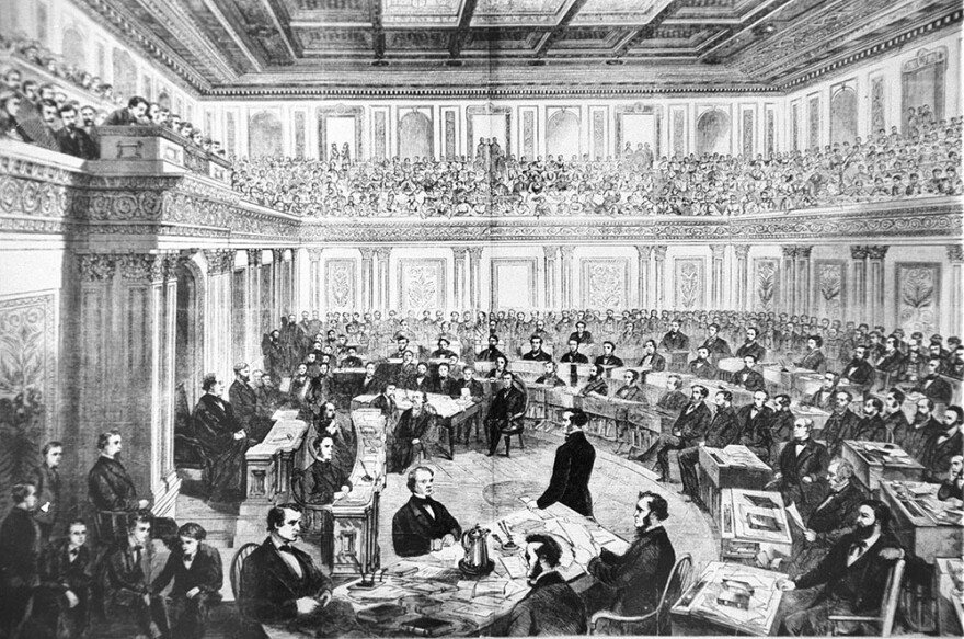 An engraving showing the impeachment trial of President Andrew Johnson in the Senate March 13, 1868. The House approved 11 articles of impeachment against Andrew Johnson in 1868, arising essentially from political divisions over Reconstruction following the Civil War. After a 74-day Senate trial, the Senate acquitted Johnson on three of the articles by a one-vote margin each and decided not to vote on the remaining articles. (Library of Congress)