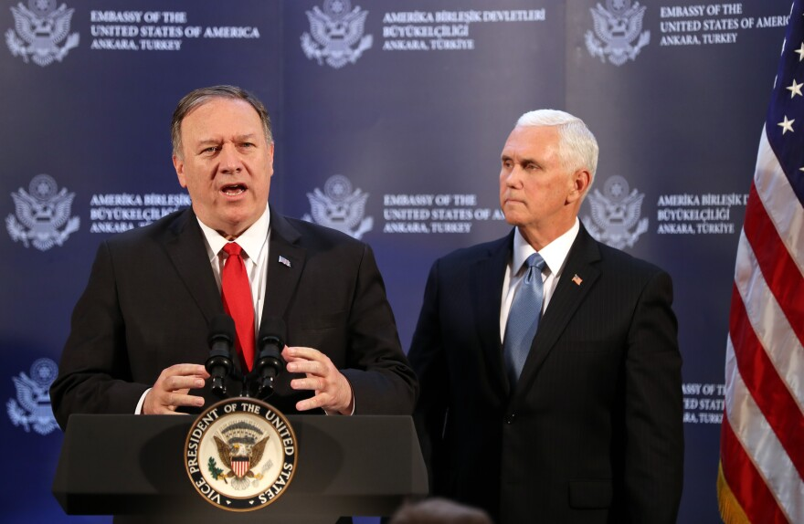 US Vice President Mike Pence (R) and US Secretary of State Mike Pompeo (L) attend a press conference after a meeting with Turkish President, in Ankara, Turkey, on October 17, 2019. (Photo by Adem ALTAN / AFP) (Photo by ADEM ALTAN/AFP via Getty Images)