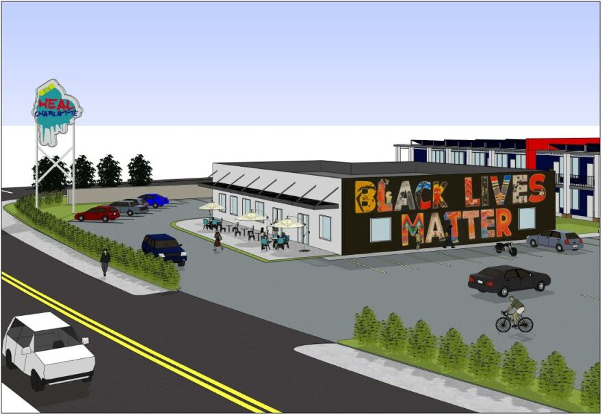 An architect's drawing envisions Heal Charlotte's transitional campus, off I-85.