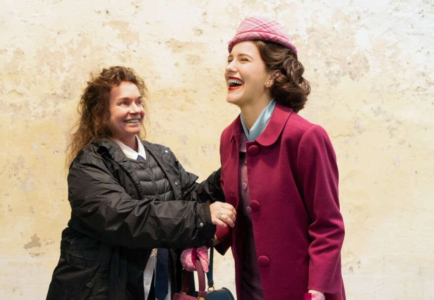 Donna Zakowska shares a laugh on set with Rachel Brosnahan.