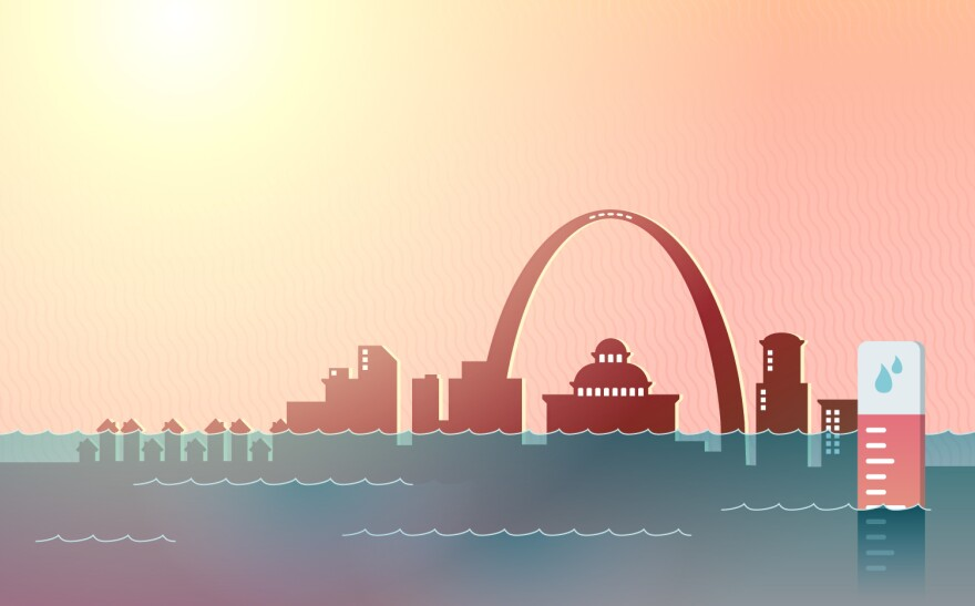 An illustration of climate change's impacts in St. Louis, Missouri.