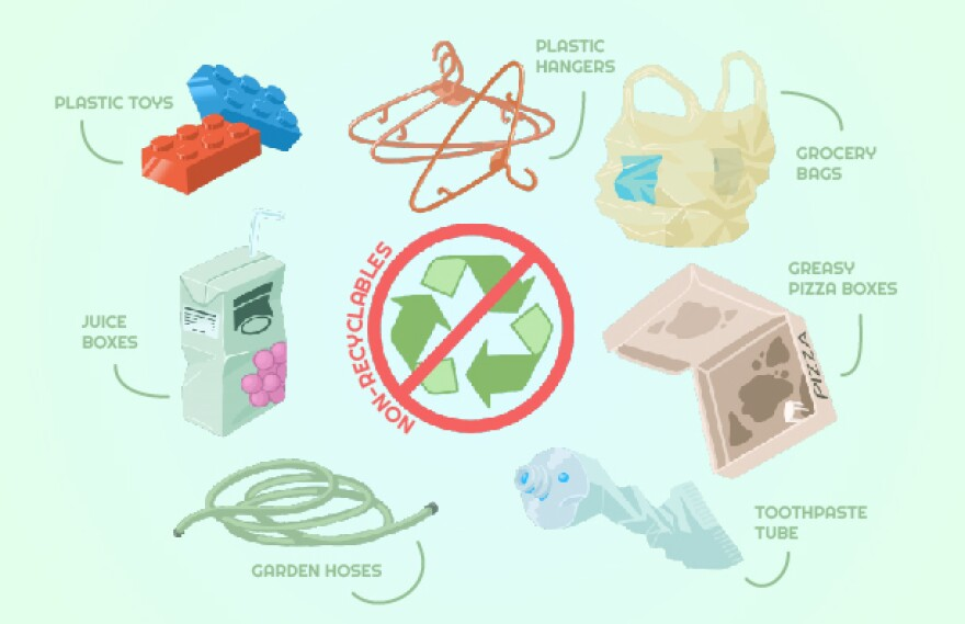 Objects that can't be recycled.