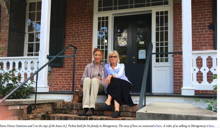 Karen and Ann sit on the porch of Albert J. Pickett's family home.