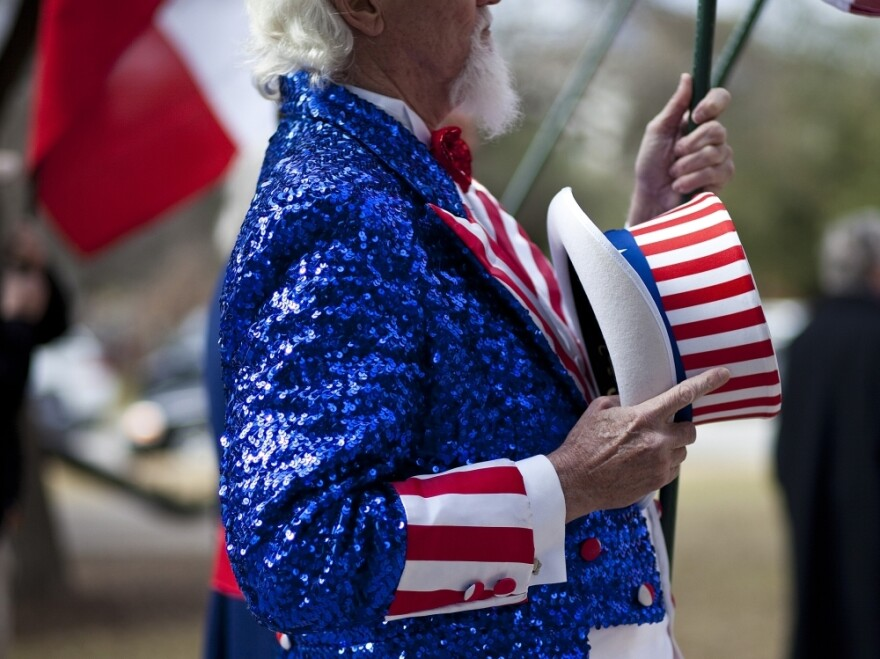 A protester dressed as Uncle Sam joins Tea Party groups convened at a  rally at the Texas state capitol during the first day of the 82nd  Legislative session on Jan. 11, 2011 in Austin, Texas.