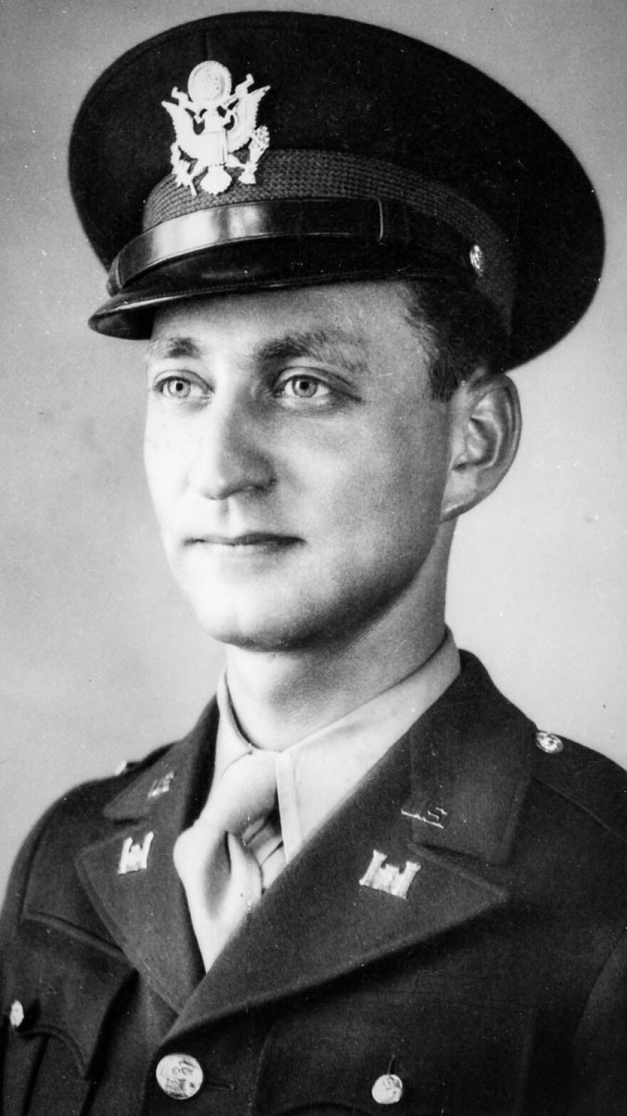 A young Gilbert Seltzer in uniform in October, 1942, after graduating from Officer Candidate School in Fort Belvoir, Va.