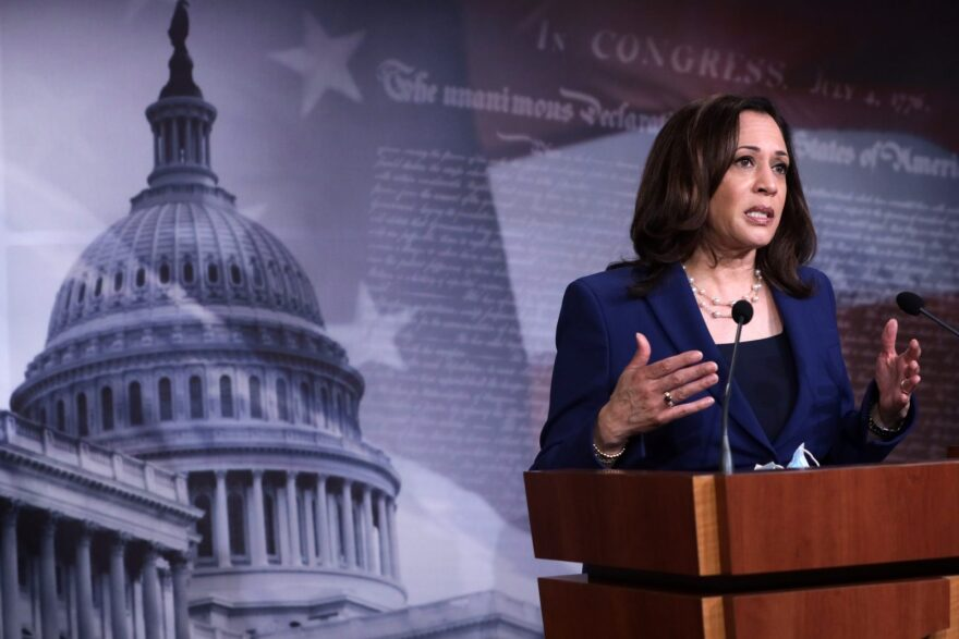U.S. Sen. Kamala Harris (D-CA) speaks during a news conference following the Democrats weekly policy luncheon at the U.S. Capitol in Washington, DC.