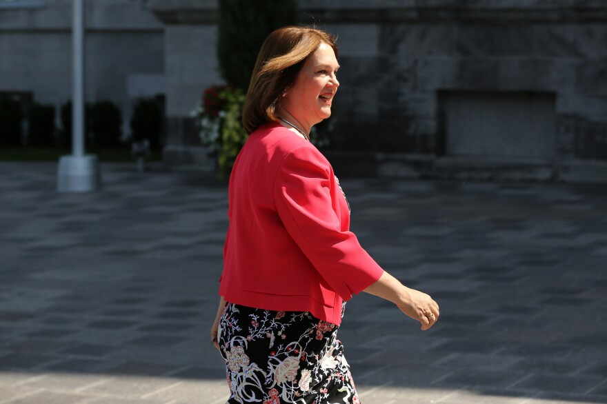 Jane Philpott arrives at Rideau Hall in Ottawa, Ontario in 2017. She stepped down from her post as Canada's Treasury Board president on Monday.