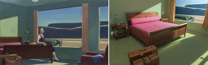Edward Hopper's 1957 oil on canvas <em>Western Motel (</em>left) has been re-created (right) at the Virginia Museum of Fine Arts. NPR's Susan Stamberg recently stayed overnight.