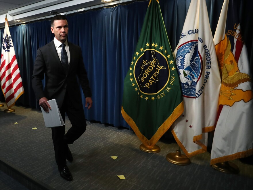 Acting Secretary of Homeland Security Kevin McAleenan holds a news conference in June.