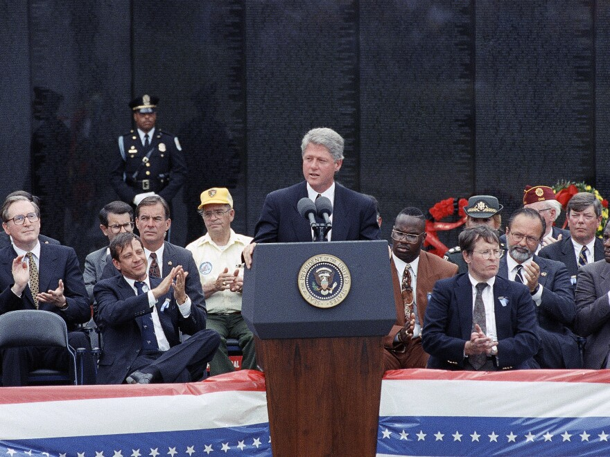 President Bill Clinton delivers a speech during Memorial Day ceremonies at the Vietnam Veterans Memorial in 1993.
