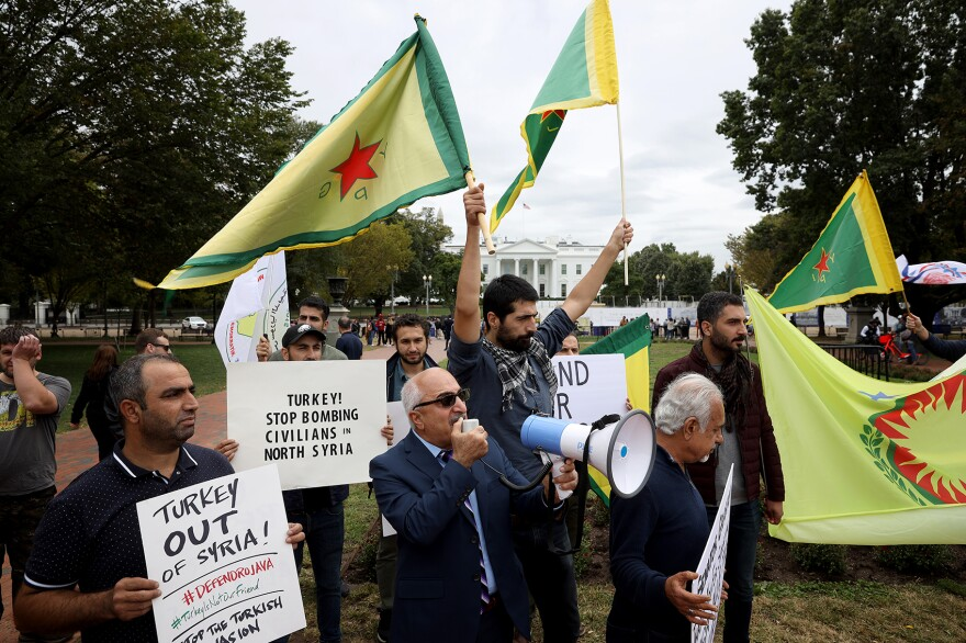 Activists gather in front of the White House to protest U.S. President Donald Trump's decision to withdraw U.S. forces from northeast Syria, Oct. 8, 2019 in Washington, D.C. (Win McNamee/Getty Images)