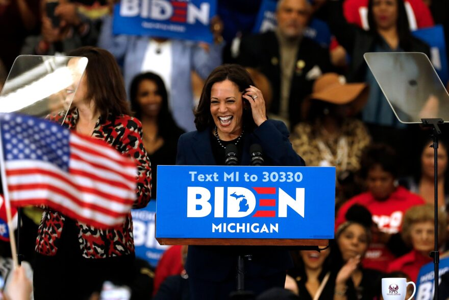 California Sen. Kamala Harris at a campaign event for presidential candidate Joe Biden in Detroit, Michigan on March 9, 2020. (Jeff Kowalsky/AFP/Getty Images)