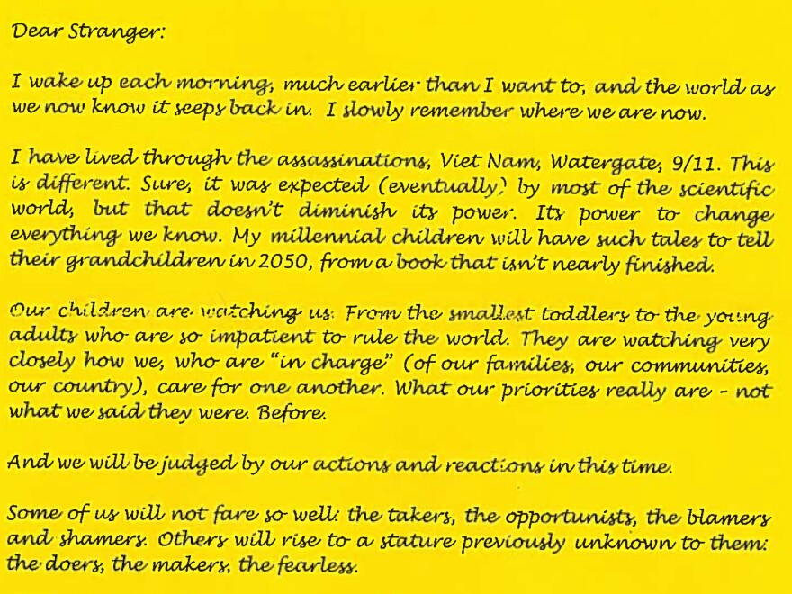 """Letter submitted to """"Dear Stranger"""" by Rebecca McCroskey of Eugene, Ore."""