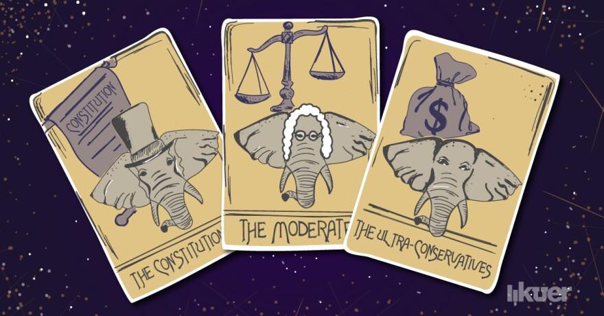 An illustration of Republican themed tarot cards.