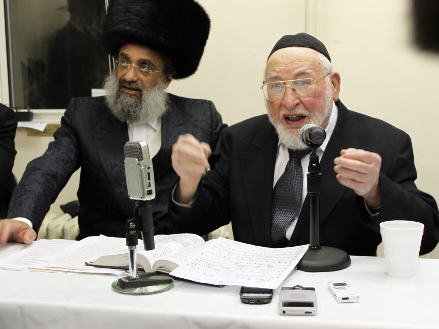 Ben Zion Shenker (right) is a world-renowned composer in the Modzitzer tradition of Chasidic Judiaism.