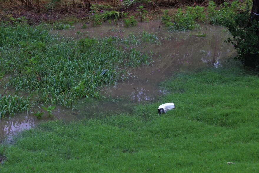 Gutters from an apartment complex in Boerne were damaged and the yard flooded.