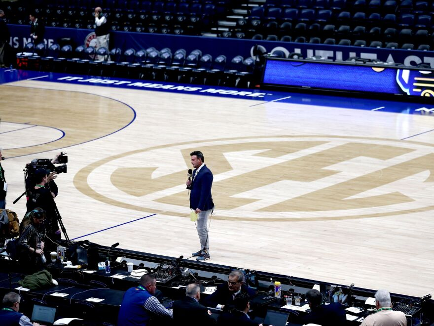ESPN's Karl Ravech reports on the cancellation of the SEC Men's Basketball Tournament on March 12, in Nashville. With no live sports to show, the network is scrambling to fill the time. Its offerings now include diversions like cherry pit spitting and marble racing.