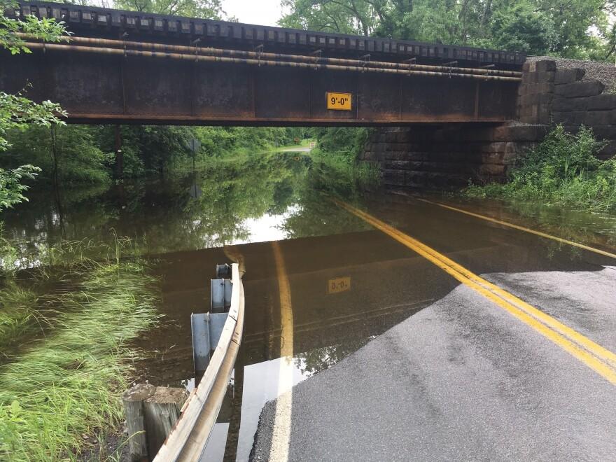 Photo of a flooded rail bridge