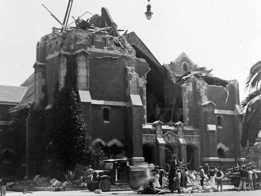 This 1933 photo made available by the U.S. Geological Survey shows the ruins of St. Anthony's Church in Long Beach, Calif., after an earthquake struck on March 10, 1933.