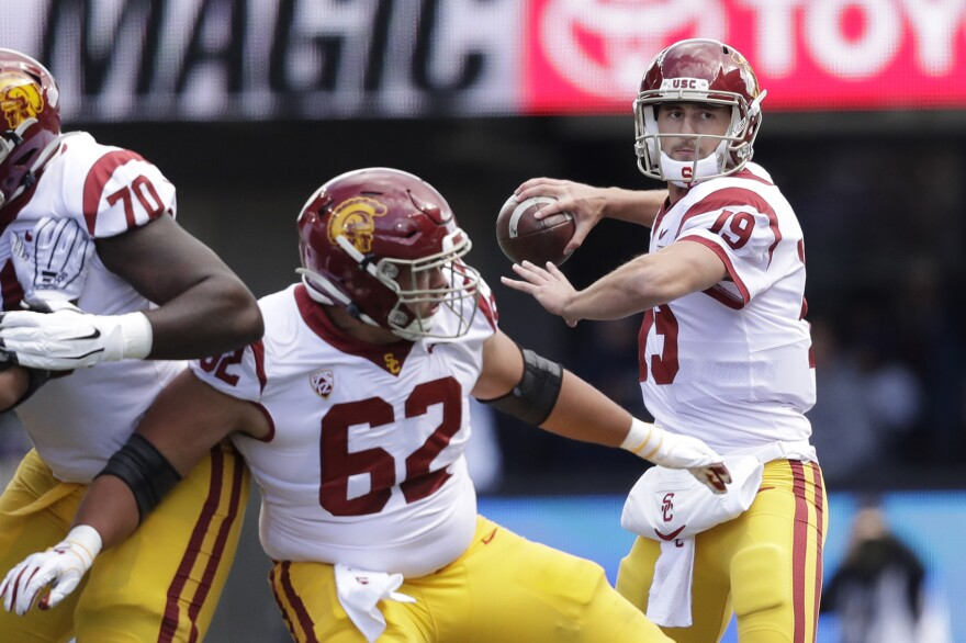 Southern Cal quarterback Matt Fink in action against Washington in an NCAA college football game Saturday, Sept. 28, 2019, in Seattle. (Elaine Thompson/AP)