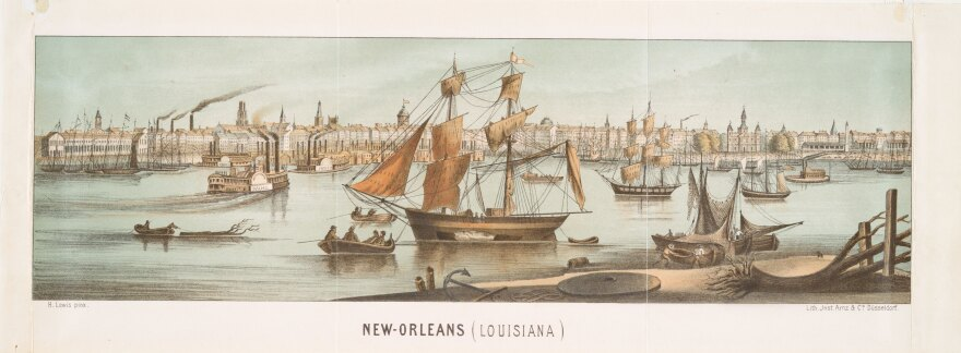 A lithograph of New Orleans, by the artist Henry Lewis and the lithographer Arnz and Co., is among the more than 180,000 public domain items now available for high-resolution download from the New York Public Library.