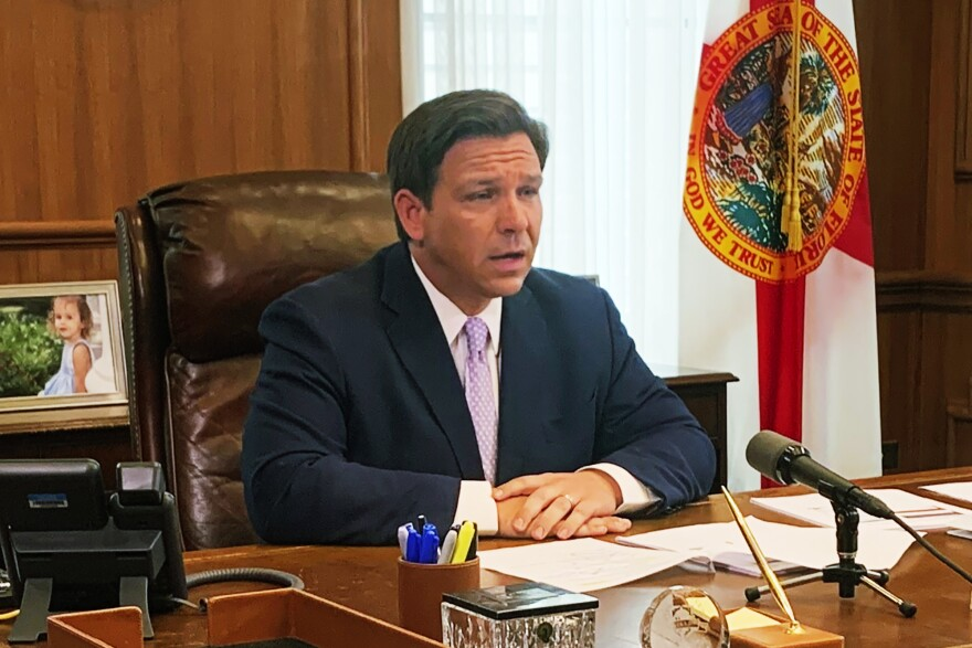 Florida Gov. Ron DeSantis updates media in response to the coronavirus on Tuesday, March, 24, 2020 in Tallahassee, Fla.