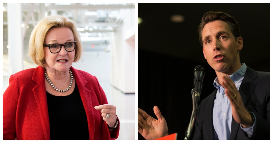 Sen. Claire McCaskill and Attorney General Josh Hawley campaign in the St. Louis region on Oct. 29, 2018.