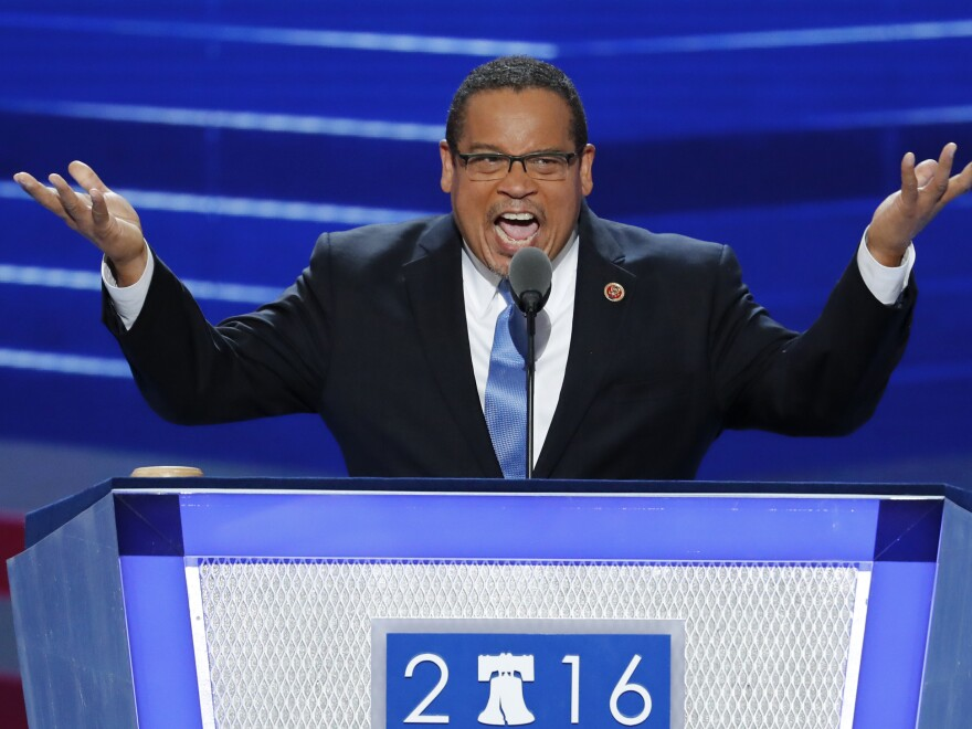 Rep. Keith Ellison speaking to the Democratic National Convention in July. Ellison, who represents Minneapolis, wants to lead the Democratic National Committee.