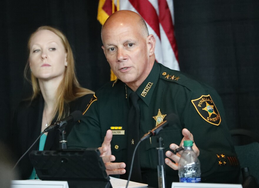 Pinellas County Sheriff Bob Gualtieri, chairman of the Marjory Stoneman Douglas High School Public Safety Commission, speaks during a meeting, Wednesday, April 10, 2019, in Sunrise, Fla. The Florida House of Representatives' school safety package this session looks to increase districts' accountability, keeping them in line with the Commission's recommendations.