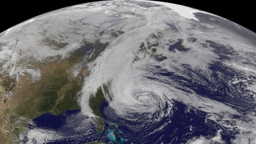 Satellite image of Hurricane Sandy in October of last year.