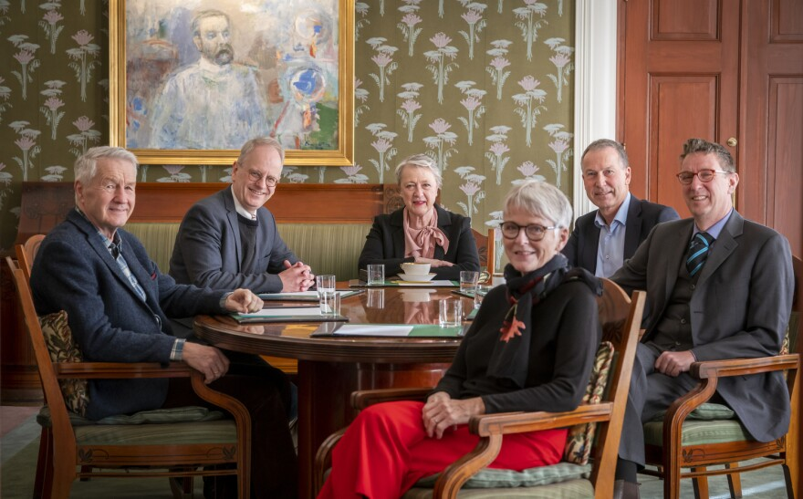 The 2020 Norwegian Nobel Committee, which names the winner of the Nobel Peace Prize. From left: Thorbjørn Jagland, Henrik Syse (vice chair), Berit Reiss-Andersen (chair), Anne Enger, Olav Njølstad (secretary) and Asle Toje.