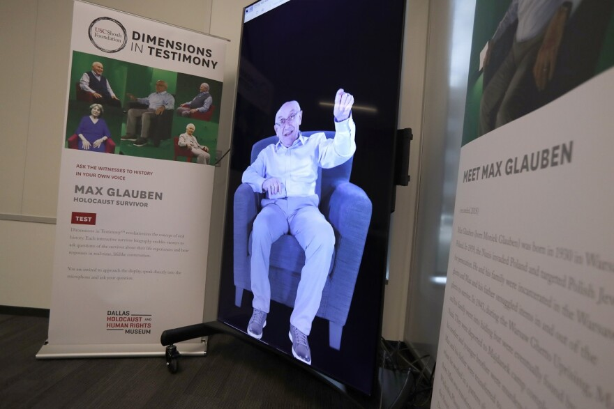 An image of Max Glauben from an interactive exhibit at the Dallas Holocaust and Human Rights Museum.