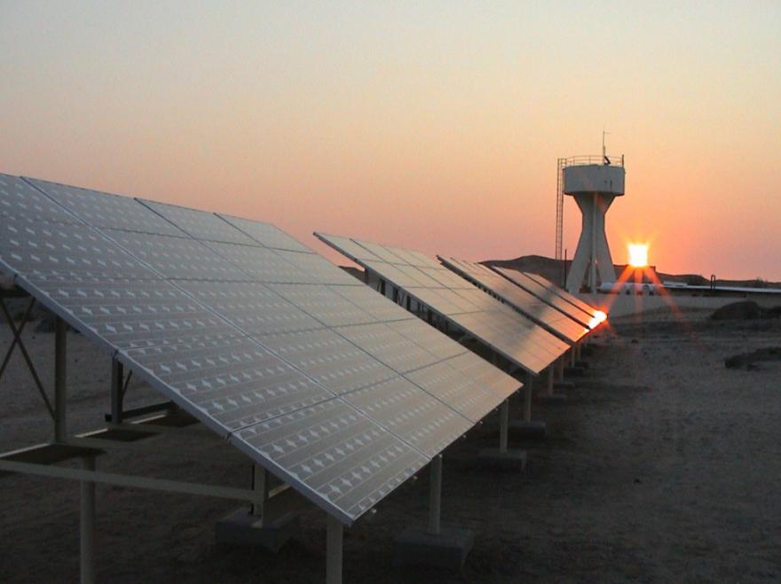 A solar panel demonstration for renewable energy.