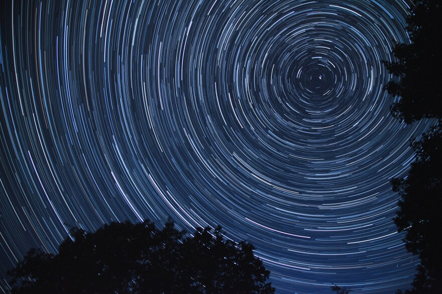 Star trails on a summer night's sky