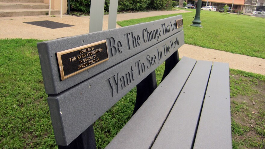 A bench donated by a foundation started by the family of James Byrd Jr. in Jasper, Texas.