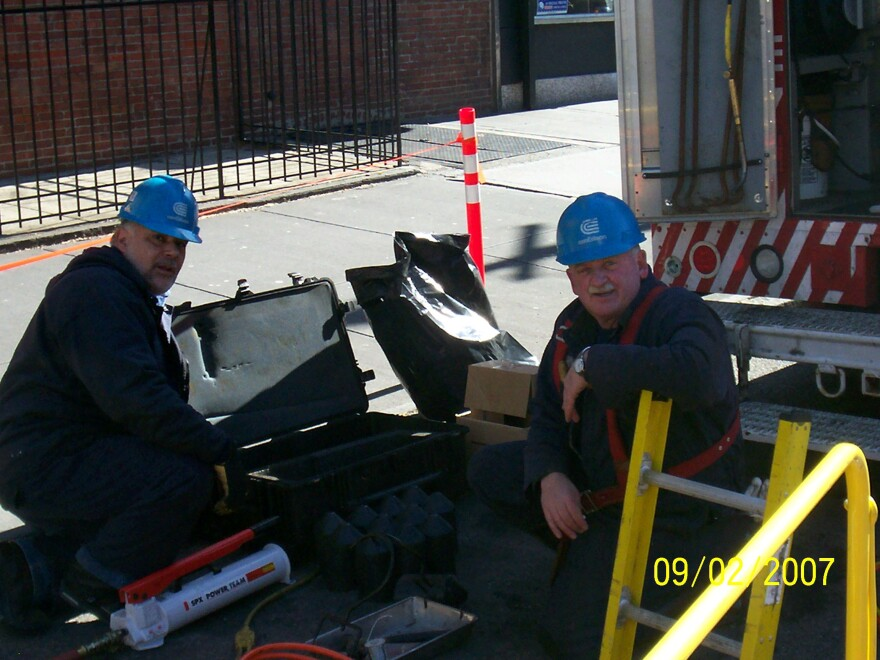 Richard Yodice (left) on a worksite in New York. He was a mechanic with ConEdison for 38 years before retiring in 2011.