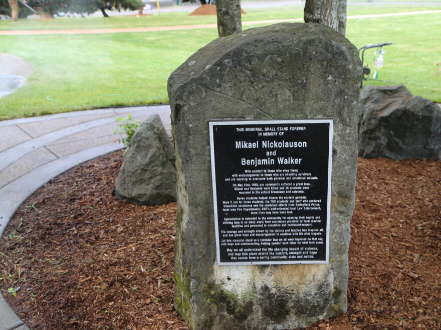 A memorial to students killed in the Thurston High School shooting on May 21, 1998.