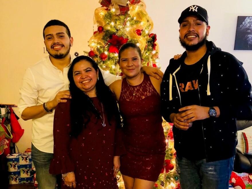 Javier Maradiaga (far right) with his brother, Jason Castillo; mother, Alma Maradiaga; and sister, Dariela Moncada on Christmas Eve in 2017.