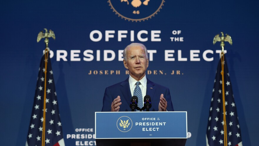President-elect Joe Biden speaks to the media Monday in Wilmington, Del. The General Services Administration hasn't given Biden's team the resources yet that a presidential transition team traditionally receives.