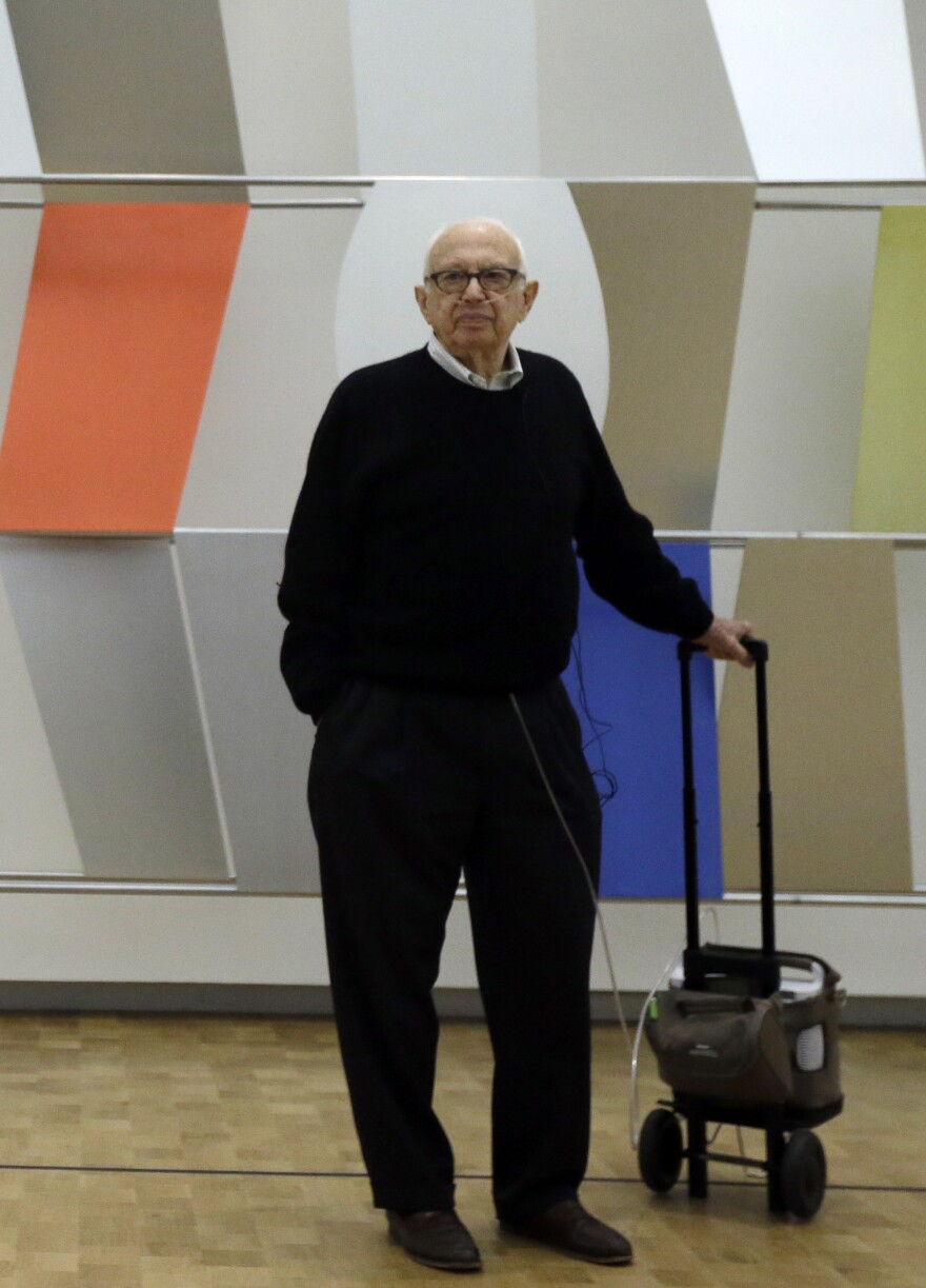 Artist Ellsworth Kelly, shown here in April at the Barnes Foundation in Philadelphia, turned 90 this May.