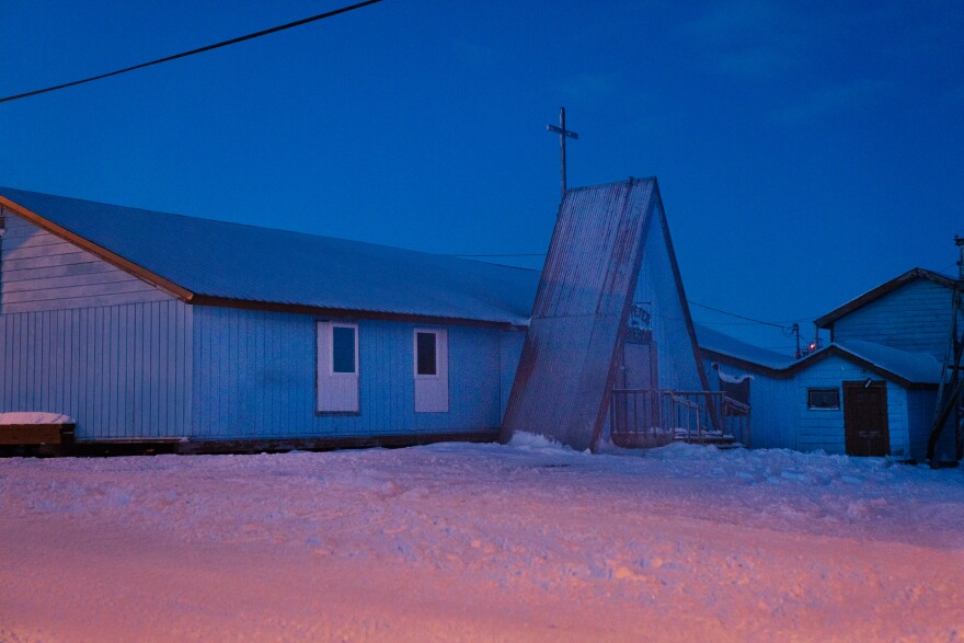 St. Peter the Fisherman Catholic Church in Toksook Bay is seen after sunset. Census numbers are used to guide the distribution of an estimated $1.5 trillion a year in federal funding for public services.