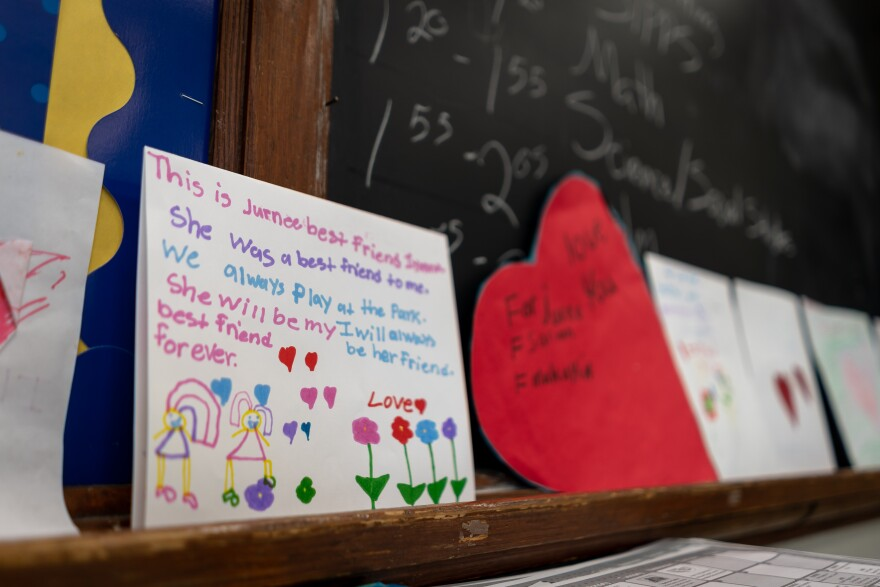 Cards classmates of Jurnee Thompson made after she was shot and killed in the second week of school. Jurnee, 8, was in third grade. Aug. 30, 2019.
