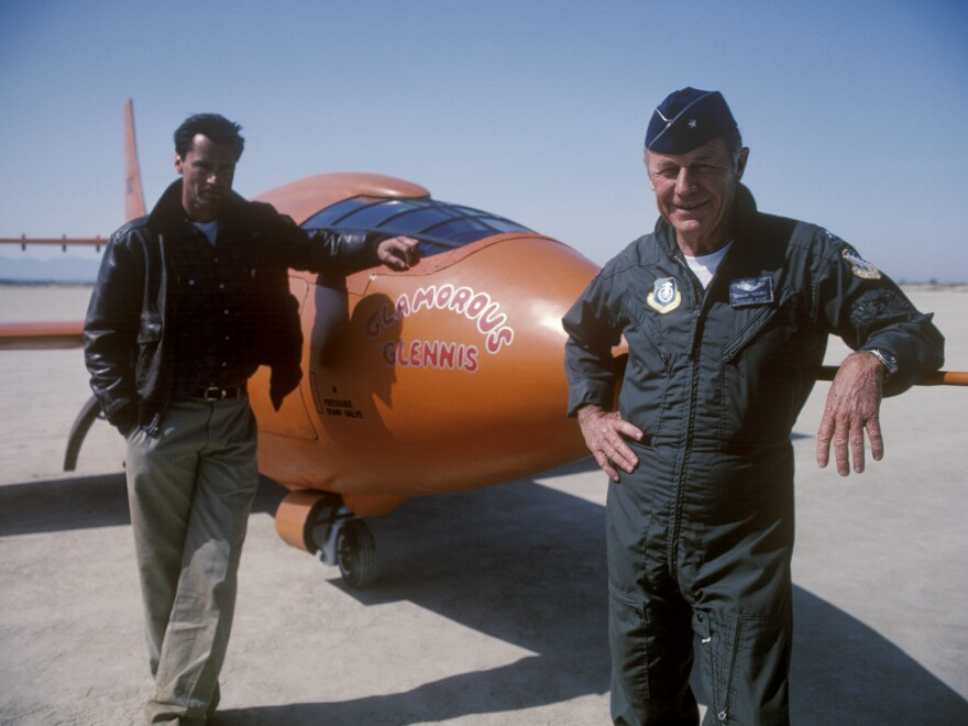 Yeager strikes a pose with Sam Shepard, who played him in the movie version of <em>The Right Stuff.</em>