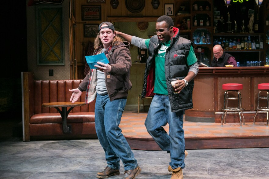 """In Lynn Nottage's play <em>Sweat, </em> Jason (Stephen Michael Spencer, left) and Chris (Tramell Tillman) are workers at a steel tubing plant in Reading, Pa. Nottage says she wanted to write about """"how poverty and economic stagnation were shifting the American narrative."""""""