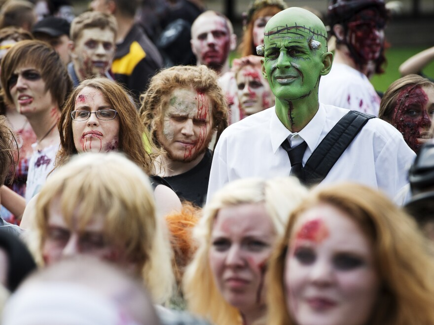 """Need to lighten up your day? Invite some of these folks. (A """"zombie walk"""" in Stockholm on Aug. 25.)"""