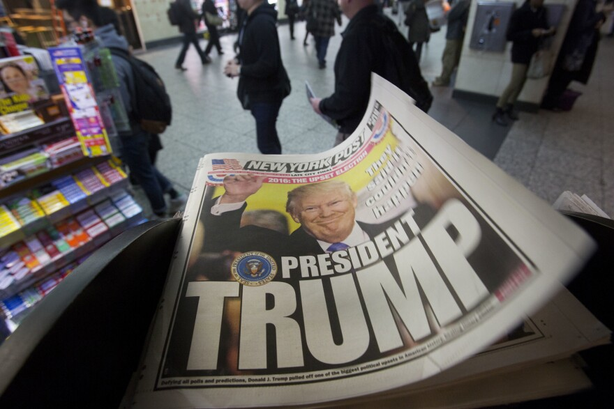 The New York Post newspaper featuring president-elect Donald Trump's victory is displayed on a New York newsstand, Wednesday, Nov. 9, 2016 in New York.  (Mark Lennihan/AP)