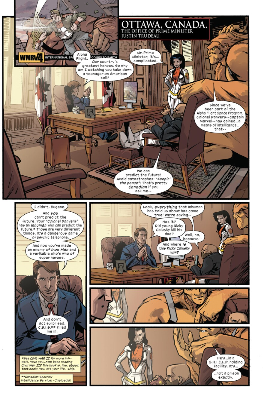 A page from a new issue of Marvel's <em>Civil War II</em> features Canadian Prime Minister Justin Trudeau.