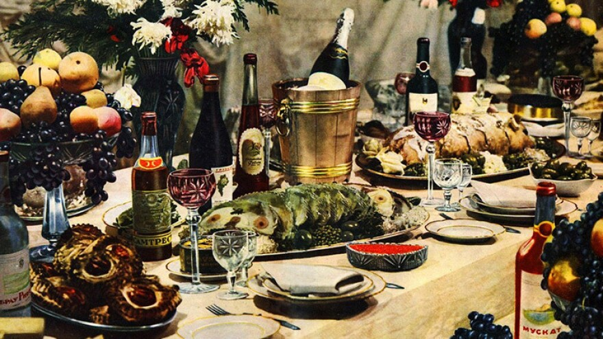 "A banquet spread is pictured in the 1952 edition of <em>The Book of Tasty and Healthy Foods. </em>The cookery book, published in the former Soviet Union, promoted a <a href=""http://www.ft.com/cms/s/2/3bcf8f22-0545-11e3-9ffd-00144feab7de.html#slide0"">fantasy of abundance</a> at a time when privations abounded."