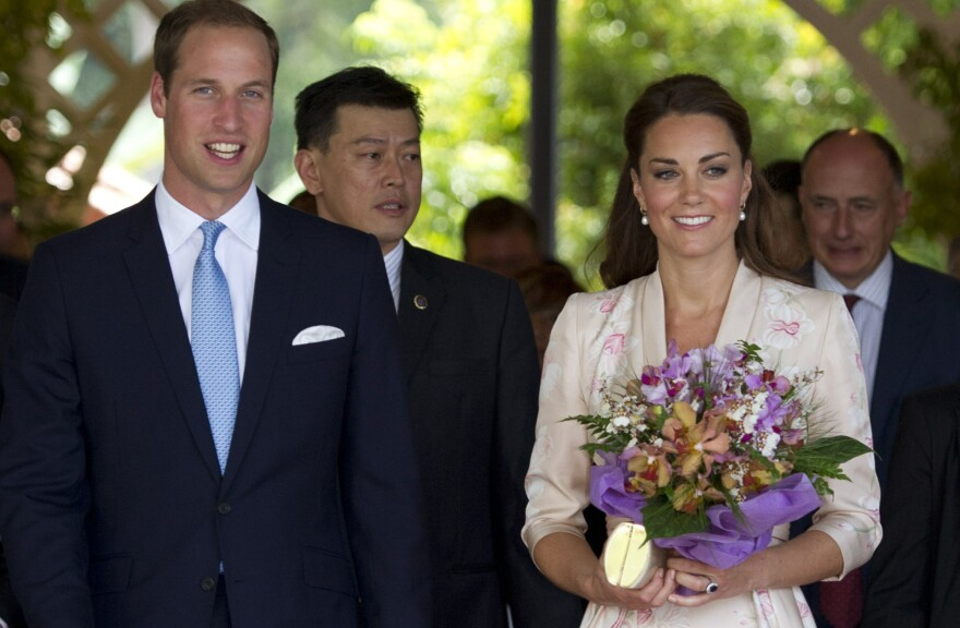 Catherine, Duchess of Cambridge and Prince William, Duke of Cambridge during their visit to Singapore Botanical Gardens on Tuesday.
