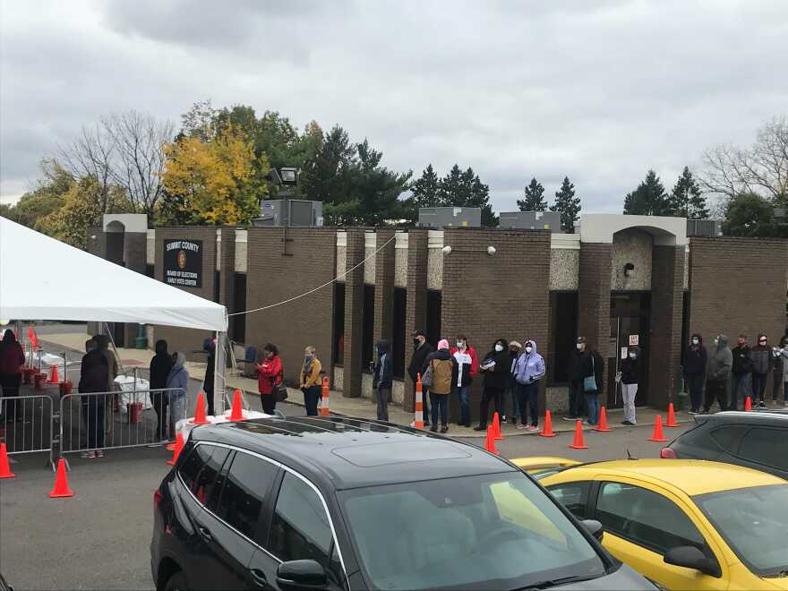 photos of early voting line at Summit County Board of Elections.